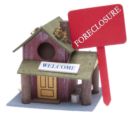 Foreclosure Sign with Small Bird House Home Isolated on White  photo