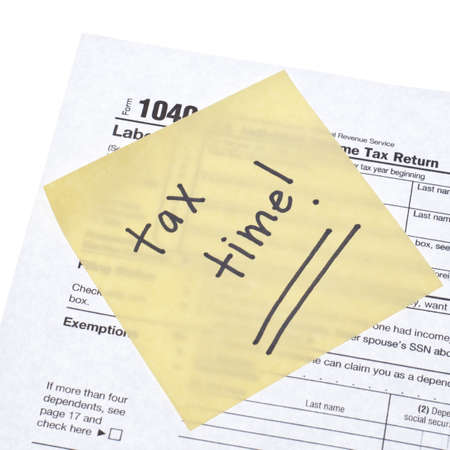 gives: Tax Time Gives the Choice to File On-line or by Mail.  Concept Image.