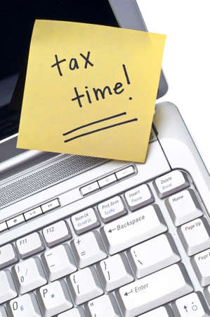 Tax Time Gives the Choice to File On-line or by Mail.  Concept Image. Stock Photo - 8256628