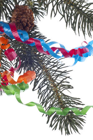 Holiday Party Concept with Streamers and Fir Tree Branch.