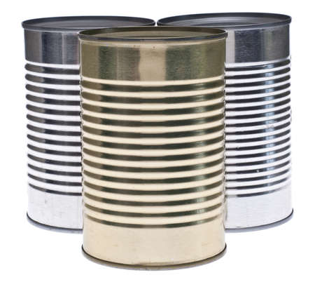 Trio of Tin Cans Isolated on White with a Clipping Path. Stok Fotoğraf