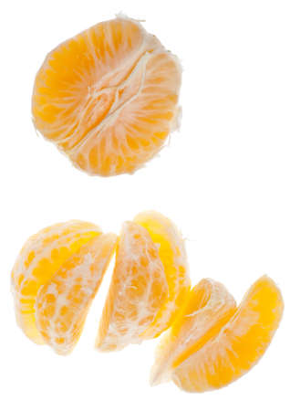 clementine fruit: Fresh Juicy Clementine Slices on White Fruit Food Image.