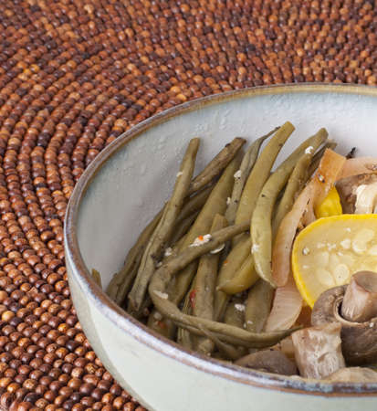 Gourmet Green Beans, Squash and Mushrooms Food Image. photo