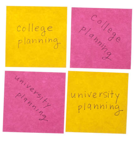 College and University Planning Handwritten Notes in Pink and Yellow Isolated on White  Stock Photo - 8555555
