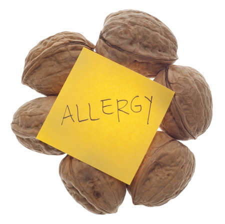 Nut Allergy Warning with Fresh Walnuts Isolated on White