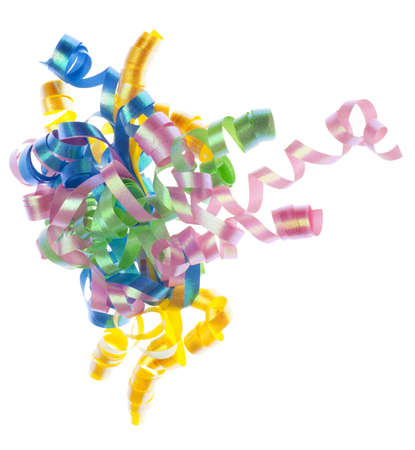 Colorful Party Ribbon Streamers Isolated on White.
