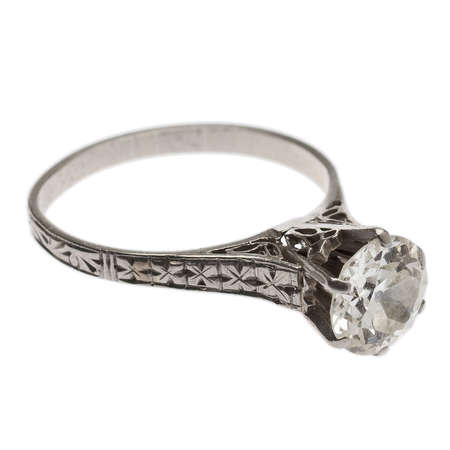 Antique Diamond Ring from 1920s with Filigree Detail. Stock Photo