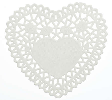 Decorative White Heart Doilie Isolated on White Stock fotó