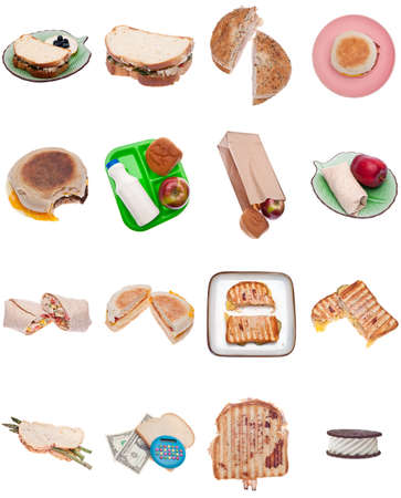 Collection of 16 Sandwiches Isolated on White Including Breakfast, Egg, Panini, Bagel, Wrap, School Lunch, Money, Vegetarian, Ice Cream and More. photo