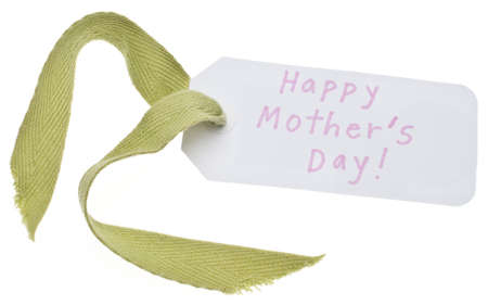 tag: Happy Mothers Day Gift Tag Isolated on White with a Clipping Path. Stock Photo
