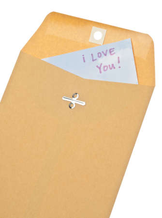 Brown Envelope with I Love You Letter Inside on White. Фото со стока - 8683256