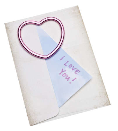 Love Letter Concept with Envelope and Heart with I Love You Note for Valentines Day and Romance Concepts. photo