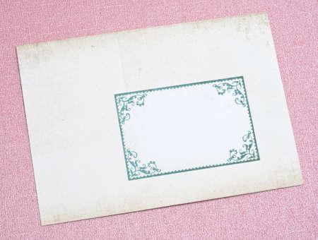 old envelope: Ornate Old Envelope on a Pink Background.