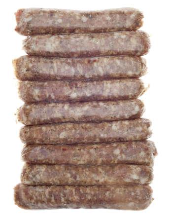 Bevroren varkensvlees worst Links met vorst geïsoleerd op wit