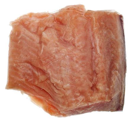 Brocken: Chunk von gefrorenen Lachs Fischen isoliert auf weiss