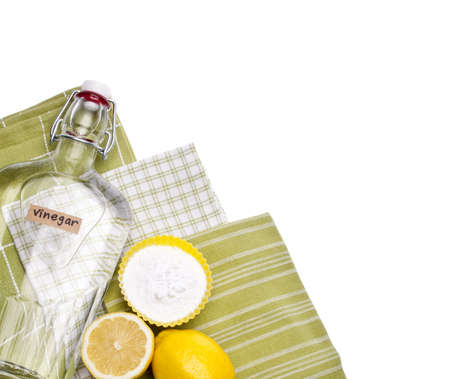cleaning background: Lemons, Baking Soda and Vinegar are all Natural Environmentally Friendly Ways to Clean Your Home. Stock Photo