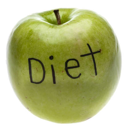 Diet Concept Apple Isolated on White