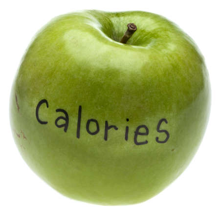 Calorie Concept Apple Isolated on White