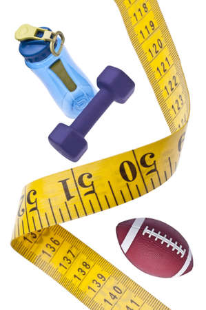 Measuring Tape Diet Fitness Concept with Sports Equipment on White. photo