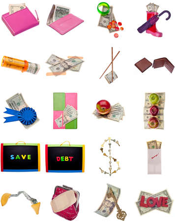 Collage Montage of American Money Items Isolated on White. photo