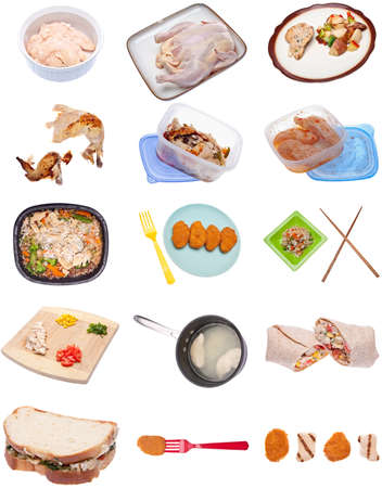 Collection of Chicken Themed Items Isolated on White. photo