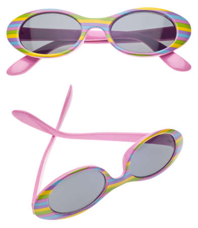 Pink striped Summer Child Size Sunglasses in Two Views Isolated on White photo