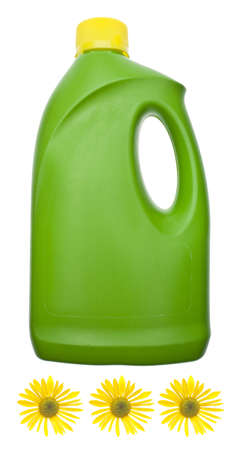 Green Cleaning Bottle with Yellow Dasies for a Natural Environmentally Friendly Cleaning Concept.