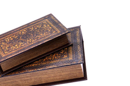 Pair of old books isolated on a white background