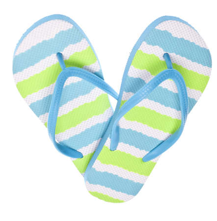 Blue and Green Flip Flop Sandals in Heart Shape Isolated on White. photo
