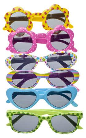 Summer Child Size Sunglasses Variety Border Background. Stock Photo