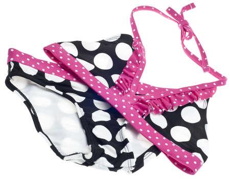 two piece bathing suit: Concepto de verano Bikini con rosado, blanco y negro traje de ba�o