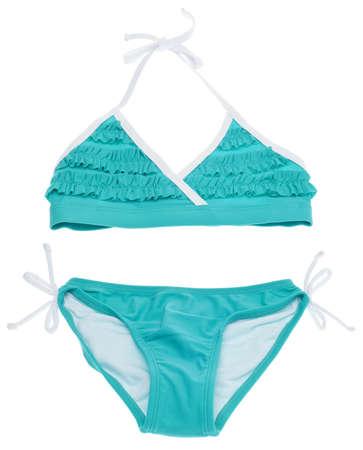 two piece bathing suit: Concepto de verano Bikini con traje de ba�o de Tous Teal aislados en blanco.