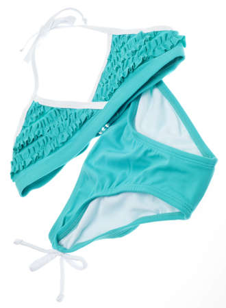 two piece bathing suit: Summer Bikini Concept with Teal Ruffle Bathing Suit Isolated on White.