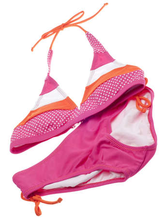 bra top: Summer Bikini Concept with Pink and Orange Bikini  Stock Photo
