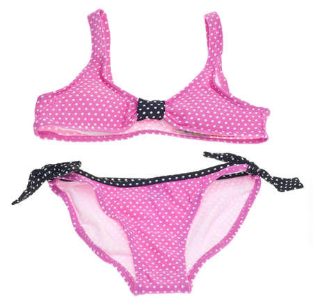 two piece bathing suit: Concepto de verano Bikini con Rosa y negro Bikini punto aislado