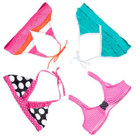 two piece bathing suit: Fondo de Bikini de verano vibrante con arcos en blanco. Foto de archivo