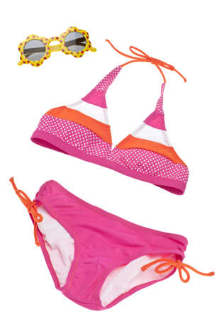 two piece bathing suit: Summer Bikini Concept with Bathing Suit and Sunglasses