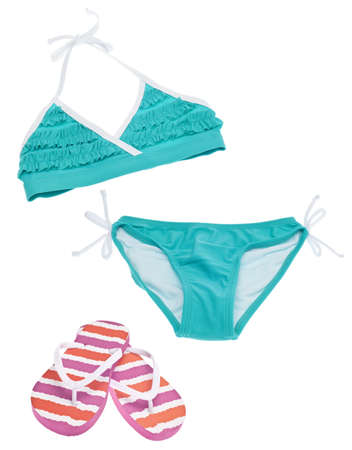 two piece bathing suit: Summer Bikini Concept with Bikini and Flip Flop Sandals