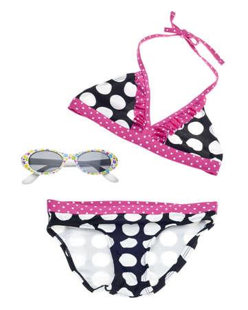 two piece bathing suit: Concepto de verano Bikini con traje de ba�o y gafas de sol  Foto de archivo