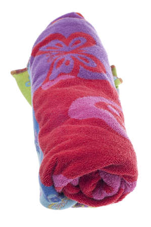 Vibrant Beach Towel Isolated on White Archivio Fotografico