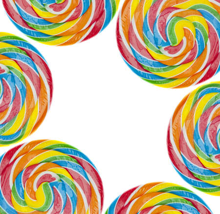 sucker: Rainbow Lollipop Background on White Colorful Candy Concept.