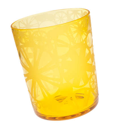 Vibrant Yellow Glass Isolated on White