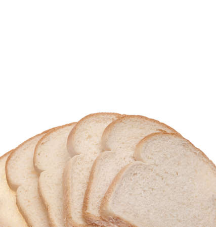 Stack of White Bread Border Background with Copy Space. photo