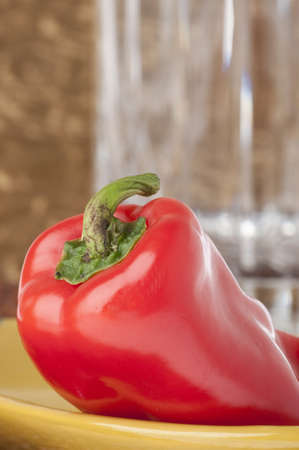 Detail of Fresh Sweet Pepper with Selective Focus on Stem. photo