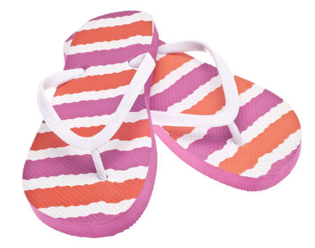 Pink and Orange Flip Flop Sandals Isolated on White photo