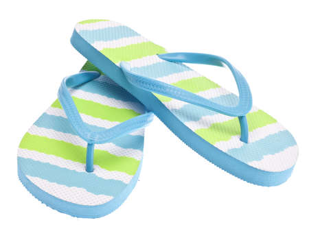 sandals isolated: Blue and Green Flip Flop Sandals Isolated on White Stock Photo