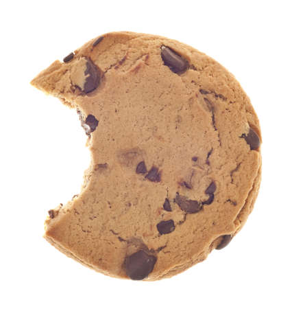 Chocolate Chip Cookie Snack with Bite Taken Isolated on White