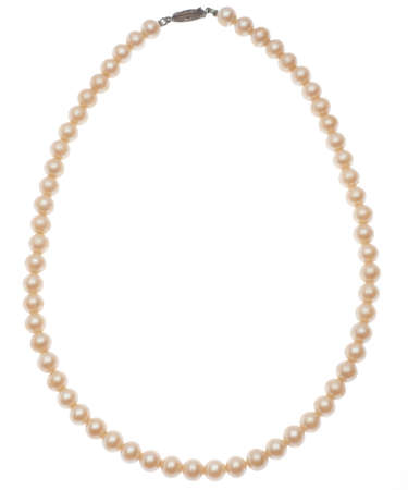 Antique Pearl Necklace Isolated on White with a Clipping Path.
