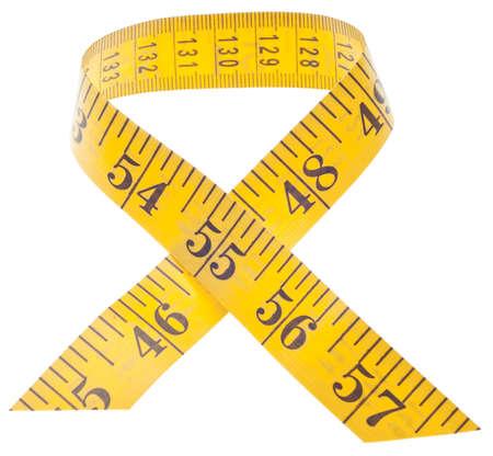 クリッピング パスと白で分離されたリボン状のテープを測定します。