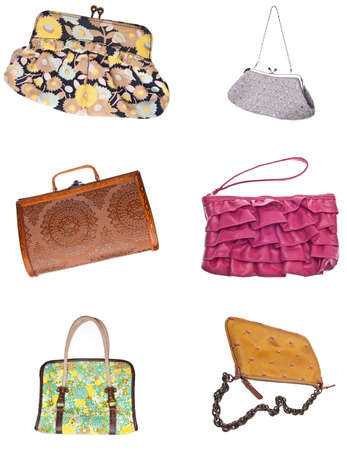 clutch: Set of 6 Ladies Purses Handbags Isolated on White.